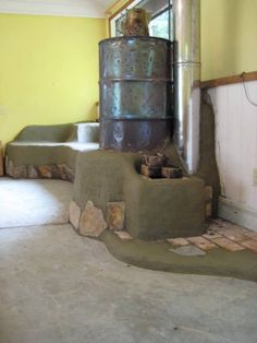 Rocket Stove, try with concrete and/or tiled benches.