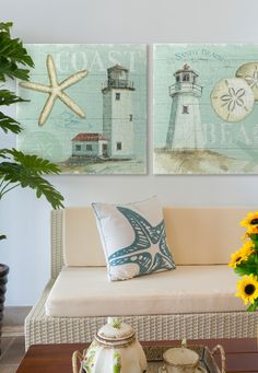 Feel the sand beneath your feet and the breeze in your hair with this summery beach-inspired wall art collection. Make a splash with two lighthouse-themed canvas prints by Lisa Audit. More Fresh Coastal Beach House decor via @greatbigcanvas available at GreatBIGCanvas.com.