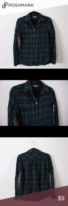 Navy and Green Flannel This navy and green flannel is really cute with jeans, a skirt, or slacks! Bundle to save!! UNIQLO Tops Button Down Shirts