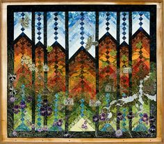 """Under Tennessee Skies"" quilt by Kathy Drew. French braid quilt with thread painted landscape - interesting! Quilting Projects, Quilting Designs, Art Quilting, Quilt Art, Quilting Ideas, Quilting Thread, Quilting Board, Braid Quilt, Landscape Art Quilts"