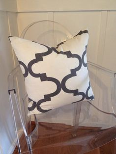 Cream & Charcoal Trellis Pillow Cover, Accent Pillow, Throw Pillow, Euro Sham from Bobi Law Designs on Etsy