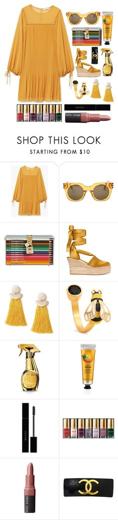 """The Colour Pencil Clutch"" by pulseofthematter ❤ liked on Polyvore featuring MANGO, Marc Jacobs, Dolce&Gabbana, Tory Burch, Miss Selfridge, Chrysalis, Moschino, Gucci, Bobbi Brown Cosmetics and Chanel"