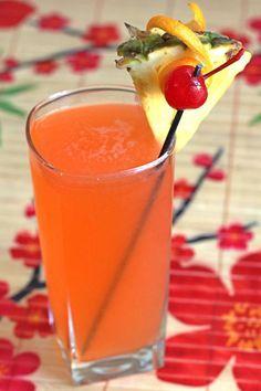 Hawaiian Hammer: Banana Schnapps, Coconut Rum, 151 Proof Rum, Grenadine Syrup, Orange Juice, Pineapple Juice.