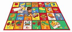 awesome Kids Rugs ABC Alphabet Chart Fruits for Playorom and Nursery