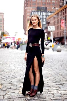 long slit dress + belt (pictured: Kyleigh Kuhn) #streetstyle #fashion #modeloffduty