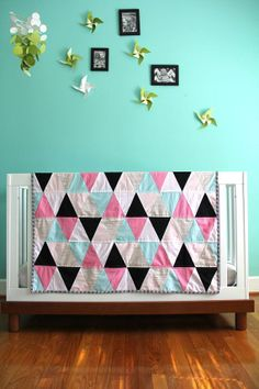 hot pink and aqua triangle quilt by iviebaby on Etsy, $188.00