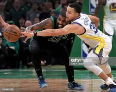 812cb48c901 Boston Celtics guard Kyrie Irving loses the ball as Golden State Warriors  guard Stephen Curry pushes it away late in the fourth quarter The Boston.