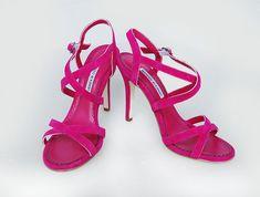 Manolo Blahnik strappy heels in magenta