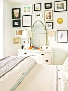 Eclectic bedroom gallery wall in front of a white wall and simple bedding for a focal statement Home Bedroom, Bedroom Furniture, Bedroom Decor, Bedroom Wall, Master Bedroom, Bedroom Ideas, Bedroom Frames, Wall Decor, Bedroom Dressers