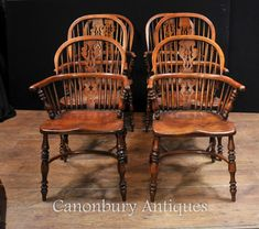 Canonbury - Set 6 Antique Stick Back Windsor Dining Chairs Kitchen Diner 1930 Rustic Dining Chairs, Farmhouse Chairs, Kitchen Chairs, Dining Chair Set, Kitchen Dining, English Farmhouse, Windsor Chairs, Arm Chairs, Tables