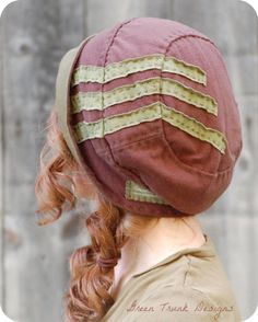 Brimmed Slouch Beanie Hat Brown with Green Stripes Recycled T shirt Hat Slouch Beanie, Beanie Hats, Turban Hat, Bjd, Fleece Hats, Recycled T Shirts, Cloche Hat, Green Stripes, Headgear