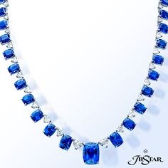 1730-004 - This astounding Sapphire and Diamond necklace features a divine blend of 58.69 ct. tw. Cushion cut Sapphires with graceful 3.33 ct. tw. Pri