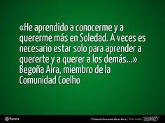 Tras leer vuestras reflexiones y palabras sobre la #CCSoledad, tema que aborda 'El manuscrito encontrado en Accra' de Paulo Coelho, compartimos un nuevo comentario de un miembro de la Comunidad Coelho. Aquí tenéis las palabras de Begoña. ¡Compartidlas con toda la Comunidad Coelho! - http://www.elmanuscritoencontradoenaccra.com/ | http://www.twitter.com/ComunidadCoelho | http://www.youtube.com/ComunidadCoelho | http://www.pinterest.com/ComunidadCoelho…