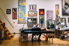 Studio - Seventh Son Tattoo Tattoo Shop Decor, Tattoo Studio Interior, Barber Shop Decor, Tattoo For Son, Home Tattoo, Interior Decorating, Interior Design, Shop Interiors, Home Studio