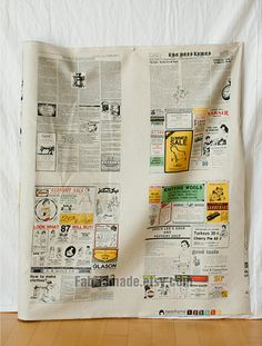 Colorful Newspaper Fabric Linen Cotton Fabric by fabricmade, $13.20