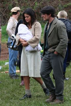"""Selena Gomez and Josh Hutcherson in between takes of filming """"In Dubious Battle"""" in Bostwick, Georgia. March 25, 2015."""