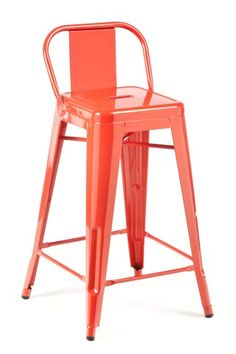 red low back bar stool
