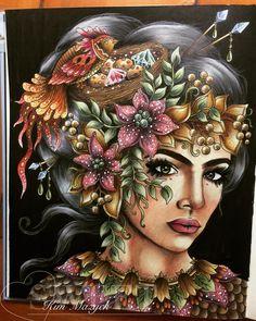 這張畫好久,魔改好難 Book: Seasons Author: Hanna Karlzon #adultcolouring #adultcoloringbook #hannakarlzon #hannakarlzoncoloringbook #hannakarlzonseasons #prismacolor #prismacolorpencils #carandache #carandacheluminance