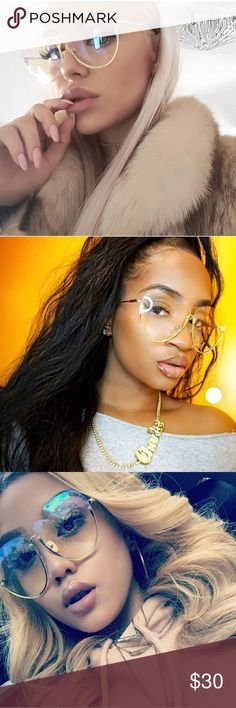 """Super Glam Semi-Rimless Fashion Eyewear 🎈HP🎈""""My neck , my back, love glam Sunnies just like that"""" 😍🔥  Non Prescription Clear Lens * Ultra Chic * Designer Inspired  * Nickel Finish Metal Frame  * Crystal Clear Polycarbonate Lenses * Microfiber Bag Included 63mm(W) 60mm(H) 18mm(BR) 142mm Total Frame Lord & Taylor Accessories Sunglasses"""