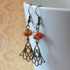 Orange Czech Glass Bead Earrings  CLEARANCE by carolinascreations, $5.00