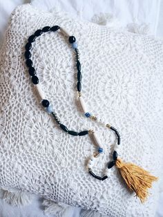 One of a kind beaded necklace with tassel by gabbybella on Etsy