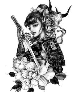 Chronic Ink tattoo Cindy asian-style tattoo Female samurai w sword - - Japanese Tattoo Art, Japanese Tattoo Designs, Japanese Sleeve Tattoos, Japan Tattoo Design, Geisha Tattoo Design, Female Samurai Tattoo, Tattoo Female, Yakuza Tattoo, Arte Cholo