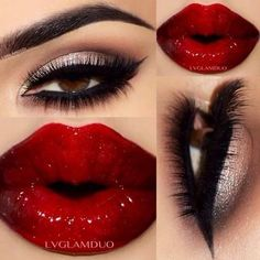 Gold Shimmer Smokey Eye Makeup Winged Eyeliner Red Lips Sexy Makeup ❤ liked on Polyvore featuring beauty products, makeup, beauty, red lip makeup, shimmer makeup, red cosmetics, sexy makeup and gold cosmetics