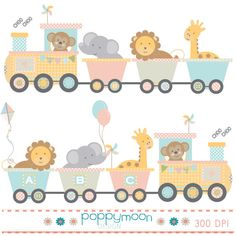 Train baby animals pink yellow blue and green printable digital clipart set – Luciana Sekitani Ito - Baby Animals Train Clipart, Imprimibles Baby Shower, Scrapbook Quotes, Baby Album, Moon Design, Art File, Elements Of Art, Easy Paintings, Baby Cards