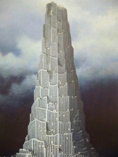 Minoru Nomata Minoru Nomata was born in 1955 in Tokyo, Japan. He graduated from the Design Department. Architecture Drawings, Futuristic Architecture, Classical Architecture, Architecture Images, Fantasy Places, Fantasy World, Turm Von Babylon, Claude Nicolas Ledoux, Tower Of Babel