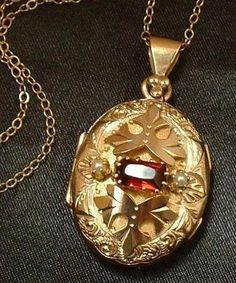REGAL Genuine GARNET Pearl Antique Victorian LOCKET Gold Filled from yearsafter on Ruby Lane