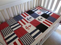 Patchwork Cot Crib Quilt Black Red and Navy Anchors Baby Boy Blanket