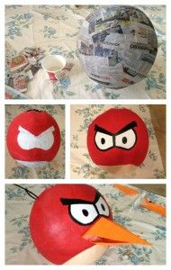 If you are having an Angry Birds party for your kids, a pinata is a must have. This Angry Birds Pinata Tutorial will show you how. You will need: A beach ball or large balloon Shredded newspaper Flour Tempera Paint, … Continue reading → Birthday Pinata, Bird Birthday Parties, Baby Birthday, Cumpleaños Angry Birds, Festa Angry Birds, Spanish Projects, Projects For Kids, Crafts For Kids, Large Balloons