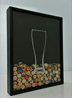 Beer bottle cap shadow box!