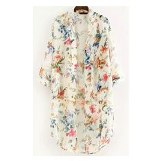 SheIn(sheinside) White Half Sleeve Floral Loose Kimono ($14) ❤ liked on Polyvore featuring tops, white, floral print top, white floral kimono, chiffon kimono, white top and loose white top