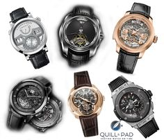 Striking watches pre-selected for the 2015 GPHG shown clockwise from top left: A. Lange & Söhne Zeitwerk Minute Repeater, Akrivia Tourbillon Chiming Jump Hour, Girard-Perregaux Minute Repeater Tourbillon with Gold Bridges, Hublot Big Bang Alarm Repeater, Franc Vila Inaccessible Tourbillon Minute Repeater, and Christophe Claret Allegro
