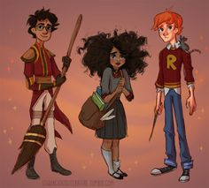 ron weasley harry potter Hermione Granger Fanart hp katie's art I'm a really big fan of the poc harry and hermione theory