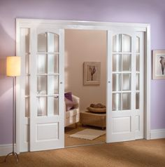Bypass French Doors, great idea for locations where you don't want the doors to swing into a space.