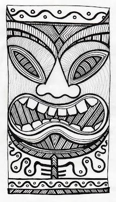 Pinner sez: Stitchlily: How to draw a Tiki Head! I'm going to make stamps for the separate pieces, so I can assemble a bunch of different ones. Tiki Maske, Tiki Faces, Tiki Head, Tiki Art, Tiki Tiki, Hawaiian Tiki, Tiki Hawaii, Tiki Totem, Maori Art