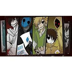 (in order) Jeff the Killer, Eyeless Jack, Ben DROWNED, Masky and Hoodie, and Ticci Toby, all of my favorite creepy pastas including Jane, Sally, and Slenderman