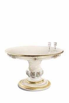 Tavolo rotondo versione laccato bianco e foglia oro 2 Elle Falegnameria artigianale toscana