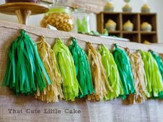 Crocodile party. Greenery Inspired Parties   Halfpint Design - I love these party tassels with gold and greens. Frog party.