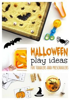 Halloween sensory play ideas for toddlers and preschoolers. Spoojy fun that isn't too scary. Toddler Learning Activities, Craft Activities For Kids, Toddler Preschool, Toddler Crafts, Crafts For Kids, Craft Ideas, Easy Halloween, Halloween Themes, Kids Board