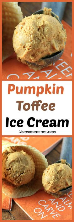 Pumpkin Toffee Ice Cream Recipe, from Noshing with the Nolands - Real pumpkin puree is used to make this creamy pumpkin ice cream, and then bits of chocolate covered toffee are added for some crunch. Tastes just like pumpkin pie!