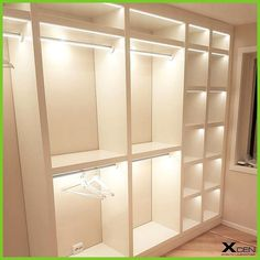 LED lighting in wardrobe, clothes rail and shelves .- LED-Beleuchtung in Kleiderschrank, Kleiderstange und Regalen wird mit LED-Band v… LED lighting in wardrobe, clothes rail and shelves comes with LED tape by XC … – IKEA ART – - Bedroom Closet Design, Master Bedroom Closet, Closet Designs, Bedroom Decor, Wall Decor, Small Closet Design, Bedroom Closets, Small Master Closet, Wardrobe Interior Design