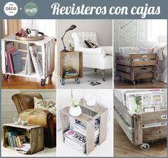 CAJAS DE FRUTA como REVISTEROS - Barcelona Crafts