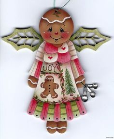 GINGERBREAD Angel with Spoons Charm - Based on a Jamie Mills-Price design... handpainted by Pamela House