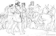 """""""Nausicaa smote the mules with the shining whip, and they quickly left the streams of the river. Well did they trot, well did they ply their ambling feet, and she drove with care that the maidens and Odysseus might follow on foot, and with judgment did she ply the lash."""" (Hom.Od.6.316). Bonaventura Genelli (1798 – 1868)."""