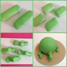 Add Tylo powder to stiffen the fondant, and then make four sausage shapes for dinosaur legs