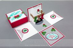 Explosionsbox mit weihnachtlich geschmücktem Kamin. Exploding box with Christmas Chimney.  Designed by Brigitte Baier-Moser with Stampin'Up! Christmas Stockings Thinlits, Holy Berry Bundle, Santa's Sleigh Thinlits