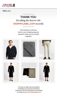 Abandoned cart email from Shop My Label